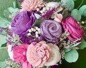 Pink and Purple Bouquet, Sola Flower Bouquet, Bouquet with Eucalyptus, Wedding Bouquet, Bridal Bouquet, Purple and Pink, Sola Flower Wedding