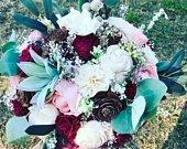 Sola Flower Bouquet, Modern Bride Alternative Bouquet w/Sola Flowers, Eucalyptus, Blush Pink Burgundy, Succulents