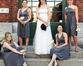 Charcoal Gray infinity dress, convertible dresses, twist wrap dress long, party dress short sleeveless infinity dress