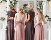 Bridesmaid Dress Infinity Dusty Dress Convertible Dress Wrap Dress Prom Dress Multiway Dress Champagne Party Dress Ship from New York