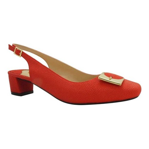 Women's J. Renee Venda Slingback, Size: 6.5 M, Red Goosebump Faux Leather