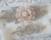 Rustic Garter Set, Ivory Wedding Garter Set, Lace Bridal Garter, Rustic Wedding Garter Set, Rustic Wedding Style 820