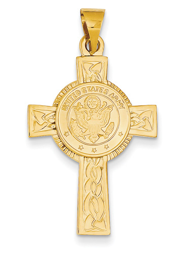 US Army Cross Pendant in 14K Gold