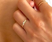 Birthstone Ring, Dainty Gold Ring, Stacking Ring, Tiny Gemstone Ring, Mothers Ring, Gift for Her, New Mom Gift