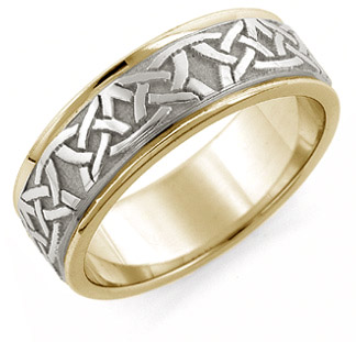 Aidan Celtic Wedding Band Ring, 14K Two-tone Gold