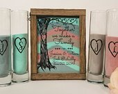 Sand Ceremony Set for Blended Family, Rustic Wedding Shadow Box Sand Ceremony Set, Unity Candle Alternative, Beach or Outdoor Wedding Decor