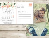 Calendar Save The Date Postcard, Postcard Save the Date, Photograph Save the Date, Save the Date Postcard with Photo, Floral Save the Date
