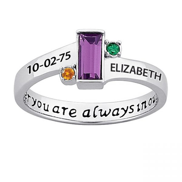 Sterling Silver Always in our Hearts Daughter's Birthstone & Name Ring