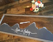 Mountain Wedding Guest Book Alternative Mountain Wall Art Wedding Guestbook Rustic Wood Wedding Sign