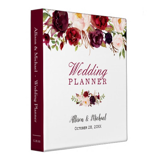 Burgundy Red Botanical Floral Wedding Planner Binder
