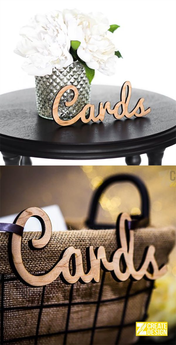 Wooden wedding cards signage idea. Hang a cut-out sign on the card box or basket. $8.00. Great idea for a birthday or graduation party, too. Learn more or buy in the My Online Wedding Help products section.