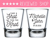 Take A Shot We Tied The Knot Wedding Shot Glasses, Custom Wedding Shot Glass Personalized Wedding Favors, Wedding Rehearsal Shot Glass (112)