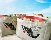 5 Cabo San Lucas Mexico Country Outline Destination Custom Wedding Welcome Burlap Tote Bags Handmade Favors or Bridesmaids Gifts