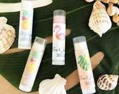 Beach Wedding Favors Tropical Bridal Shower Favors Tropical Bachelorette Party Favors Personalized Lip Balm Tubes (EB3031TPB) set of 16