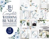 Wedding Invitation Template Kit, Dusty Blue Floral Wedding Invitations, Save the Date Template, Instant Download, Templett, 118