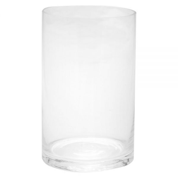 "8""x5"" Glass Cylinder Vase - Diamond Star, Clear"