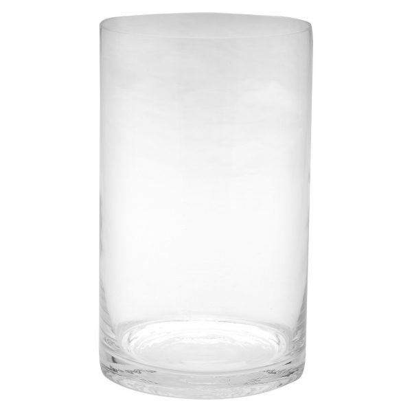 "10""x6"" Glass Cylinder Vase - Diamond Star, Clear"
