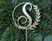 Custom Elegant Rustic Cake Topper Personalized Monogram Initial Letter Topper Any Occasion Topper Bridal ShowerWeddingAnniversaryBD