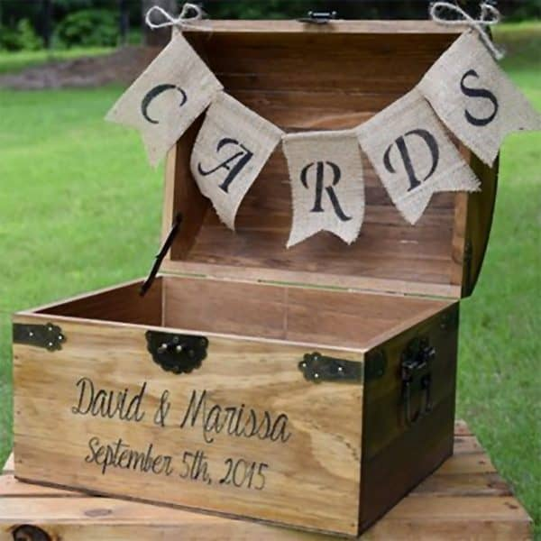 Rustic wood wishing box card holder. It comes in four sizes. Price range: $25.00 - $145.00. See it and buy in the My Online Wedding Help products section.