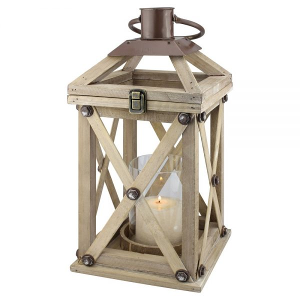 Stonebriar Distressed Wood and Metal Hurricane Candle Lantern, Brown
