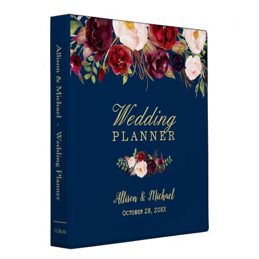 Burgundy Red Floral Navy Blue Gold Wedding Planner Binder