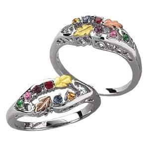 Sterling Silver Tri-Color Family Birthstone Ring