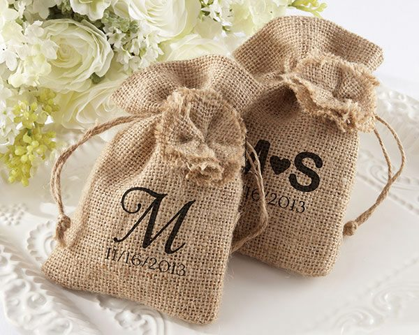 Rustic Burlap Favor Bags - Available Personalized (Set of 12)