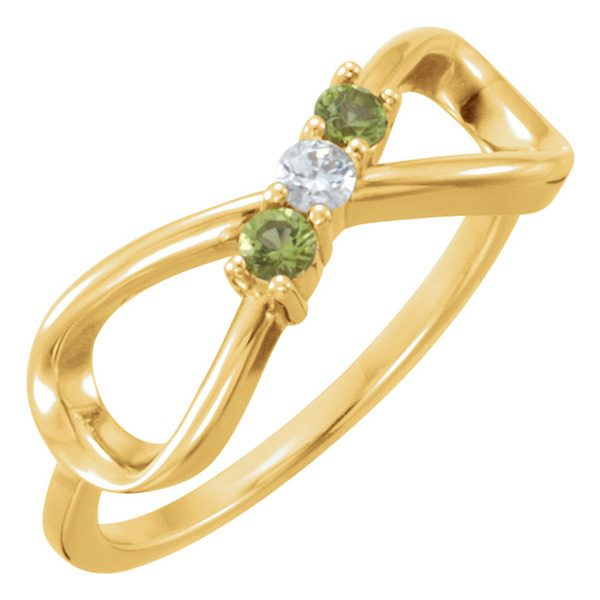 3-Stone Infinity Family Ring in Gold