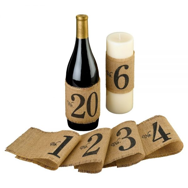 Burlap Table Number Wraps (Numbers 1-20), Brown
