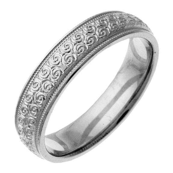 Hand-Etched Spiral Wedding Band Ring