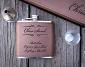 Engraved Flask for Groomsmen/Women Custom Leather, Personalized Valentines Gift for Boyfriend or Husband