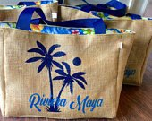 5 Palm Tree with Custom Destination Burlap Beach Wedding Welcome Tote Bags Handmade Wedding Favors or Bridesmaids Gifts