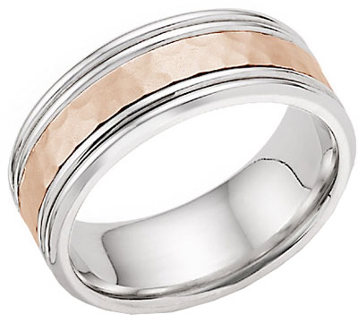 Hammered Double Edged Wedding Band in 14K White and Rose Gold