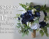 Wedding Bouquet, Bridal Bouquet, Bridesmaid Bouquet, Silk Flower Bouquet, Wedding Flower, navy blue, blue, navy, burlap, Lily of Angeles