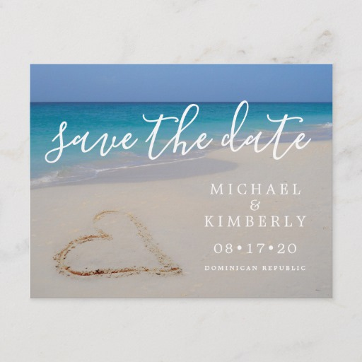 Tropical Beach with Heart Wedding Save the Date Announcement Postcard