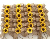 Sunflower Burlap Bows / Wedding Decorative Bows / Set of 24 / Mason Jars Decor Bows / Sunflower Small Burlap Bows / Sunflower Decor Bows