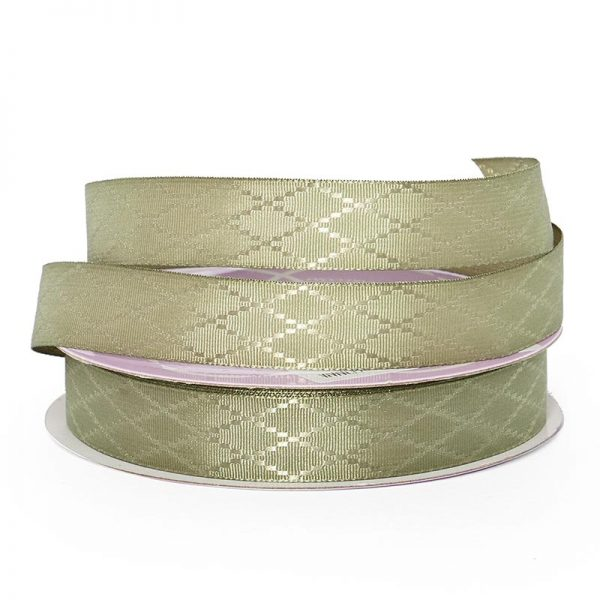 "Moss Diamond Detail Satin Ribbon - 5/8"" X 25yd - Grosgrain by Paper Mart"