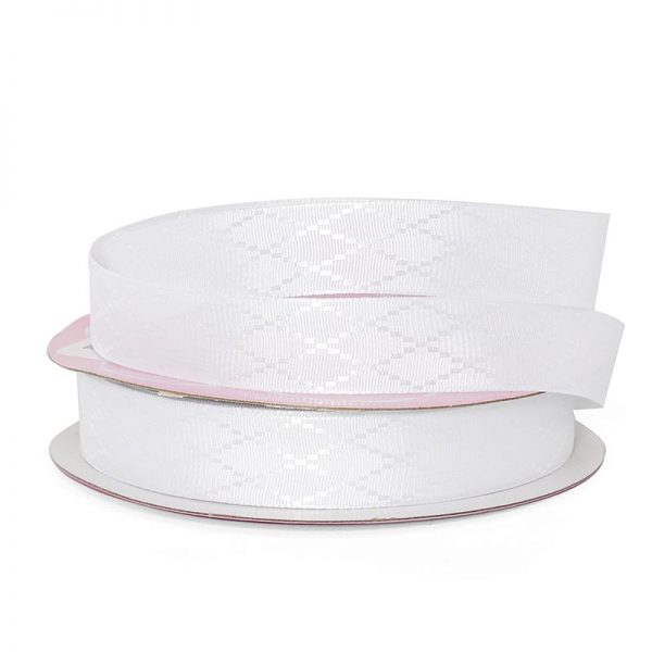 "White Diamond Detail Satin Ribbon - 5/8"" X 25yd - Grosgrain by Paper Mart"