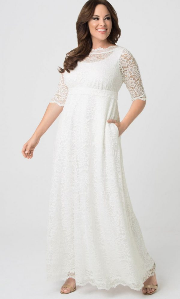 Kiyonna Womens Plus Size Sweet Serenity Wedding Gown Ivory