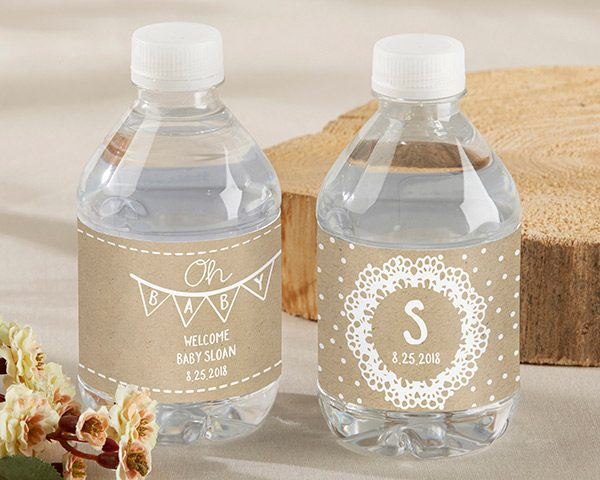 Personalized Rustic Charm Baby Shower Water Bottle Labels