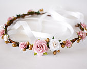 Pink, gold, and white flower crown. Dusty Rose floral crown. Pink bridal headpiece. Flower girl headband. Pink and gold headpiece. Headband