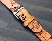Apple Watch Strap Honey Bee, Leather Apple Watch band, Leather Apple Watch Strap, 38 40 42 44 Series 4, iwatch band, Tan Honeycomb Bohemian