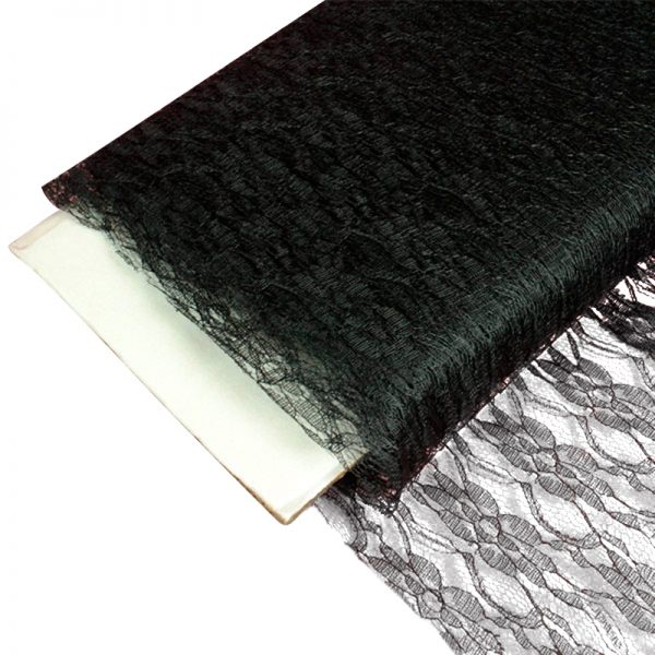 """Sheer Black Lace Fabric Bolts - 60"""" X 10 Yards - Cotton - Width: 60"""" by Paper Mart"""