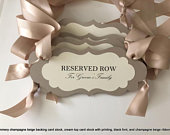 Wedding Reserved Row Pew or Chair Signs, Reserve Seat Signs, Family Seating Signs, Custom Wedding Signs, Custom Reserved sign