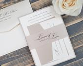 Elegant Cream and Beige Wedding Invitations with Belly Band, Formal Champagne Invitations, Neutral Invitation Suite, Rustic Lauren Lann
