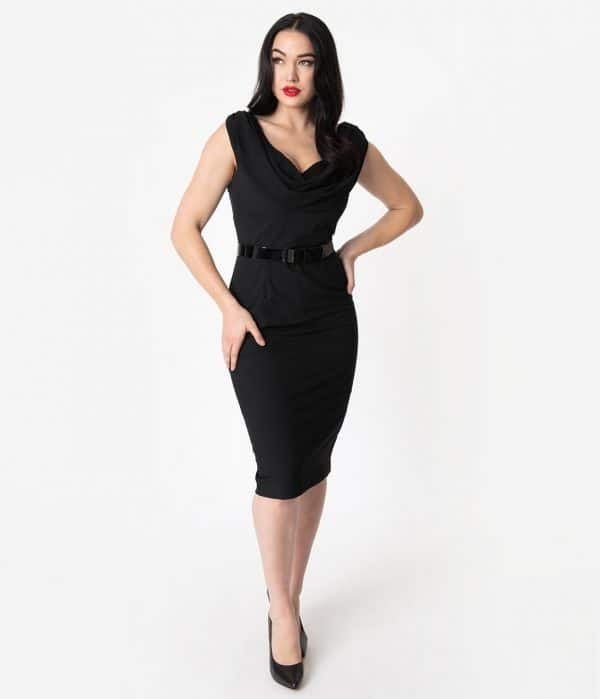 Vintage Diva 1950S Style Black Sleeveless Sweetheart Nina Pencil Dress