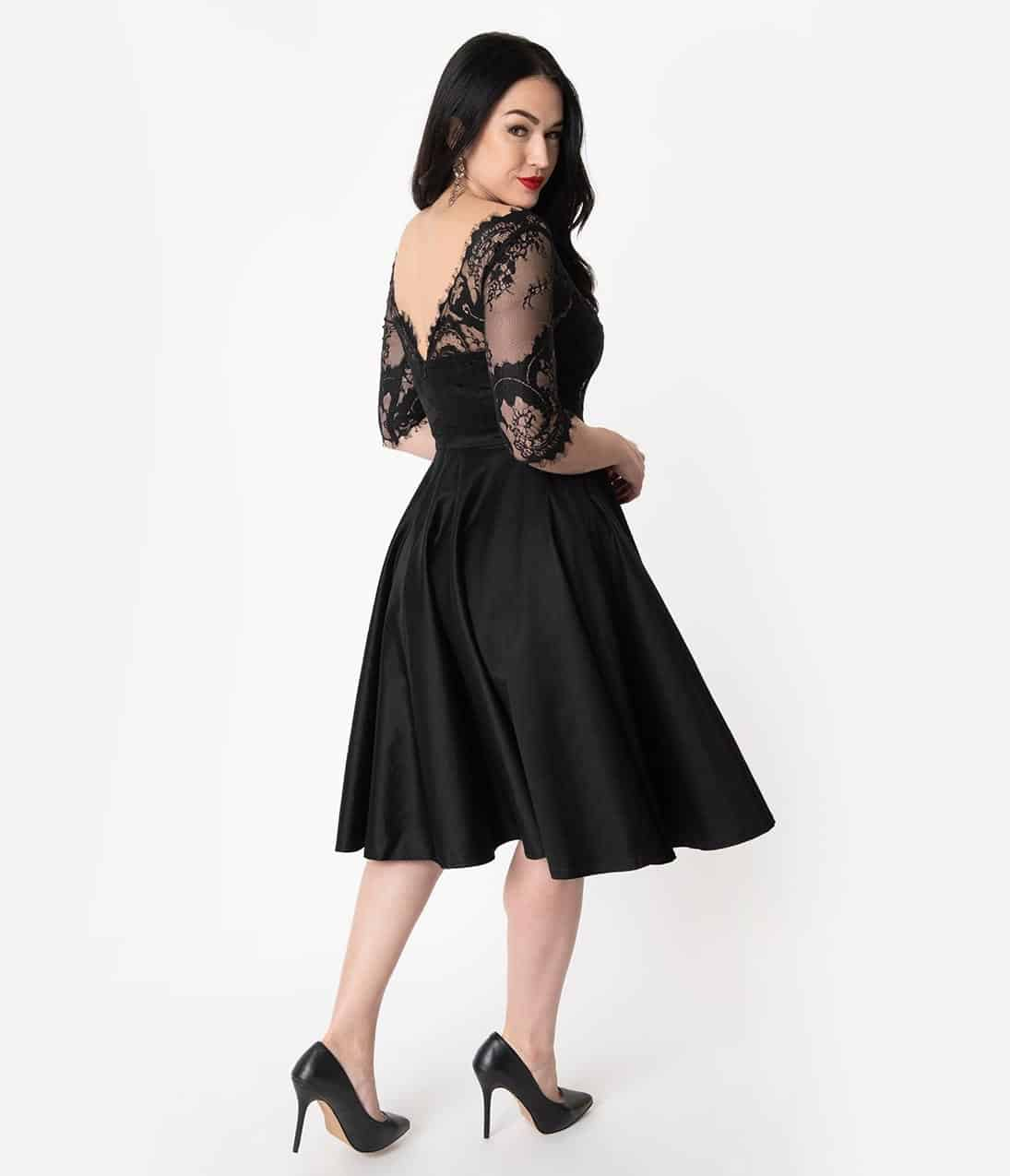 Vintage Diva 1950S Style Black Lace Sleeved Leonora Swing Dress