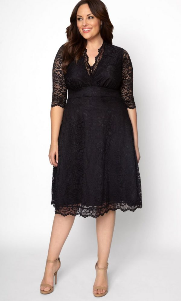 Kiyonna Womens Plus Size Mademoiselle Lace Dress Onyx