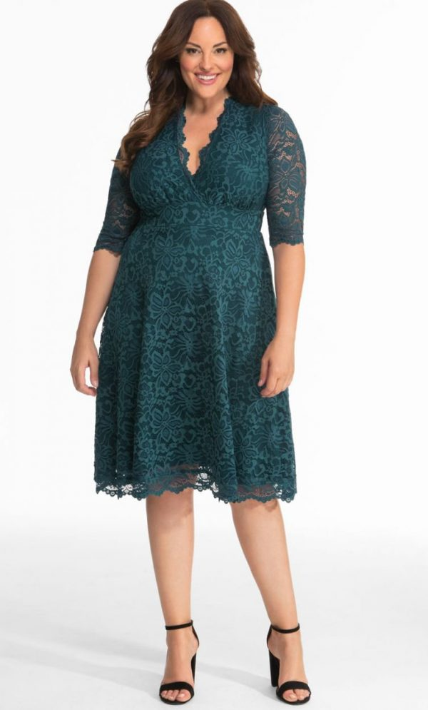 Kiyonna Womens Plus Size Mademoiselle Lace Dress Teal Abyss