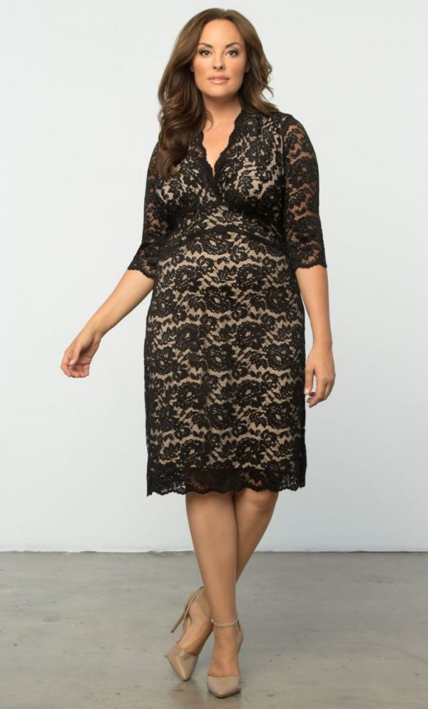 Kiyonna Womens Plus Size Scalloped Boudoir Lace Dress Black Lace / Nude Lining